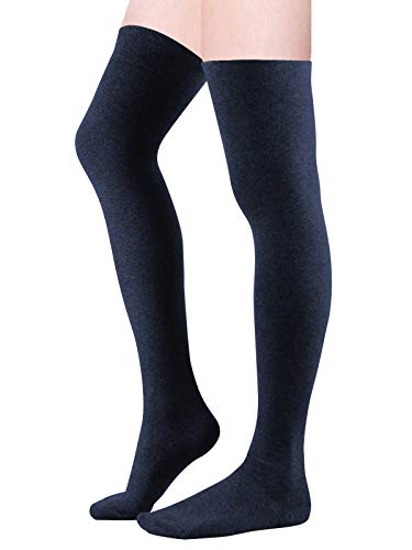 Zando Women Over the Knee Stocking Sock Casual Thigh High Tube Sock Plus Size Cotton High Leg Warmer Sock 1 Pair Navy Blue One Size