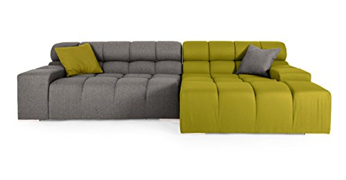 Kardiel Cubix Modern Modular Sofa Sectional Right, Deco Moss/Cadet Grey Cashmere For Sale