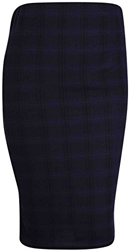 PurpleHanger Women's Tartan Check Pencil Midi Skirt Plus Size Navy Blue 16