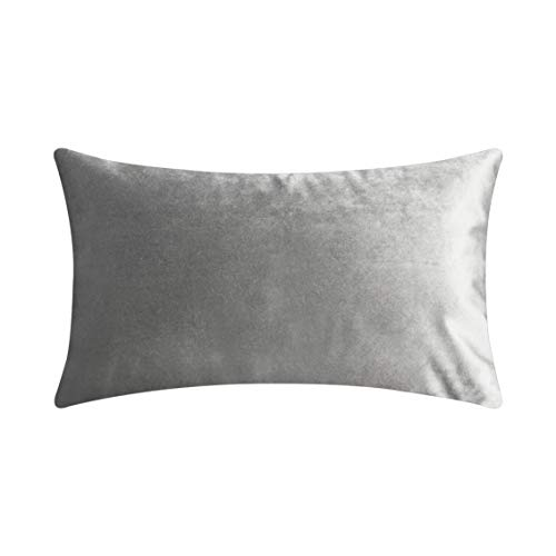Home Brilliant Solid Velvet Rectangular Throw Cushion Cover Pillowcase for Bed Nursery Sectional Seat, 30cm x 50cm, Silver Grey (Silver Grey Cushions)