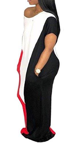 Short Colorblock Long Loose Sleeve Shoulder Dress Jaycargogo Womens Red One Maxi qwZMHt