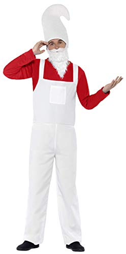 Smiffys Men's Garden Gnome Costume, Top, Dungarees, Beard and Hat, Funny Side, Serious Fun, Size M, -