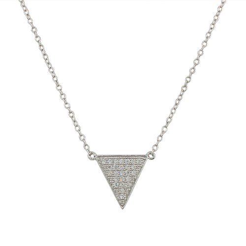 925 Sterling Silver White CZ Triangle Womens Pendant Necklace -