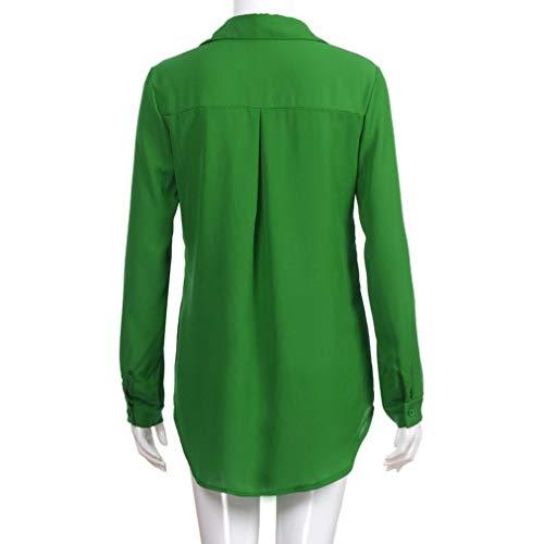 Blouse en Femme avec Shirt en Vert Lenfesh Casual Taille Col T Grande Soie V Manche Tops De Bouton Mousseline LaChe Longue 8gww4Zqf