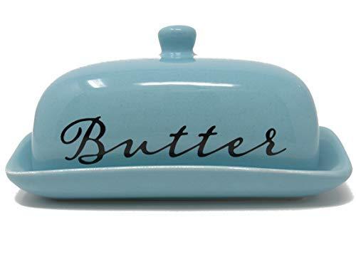 Ashes To Beauty 磁器バターディッシュ 蓋付き 東西のバター付き キッチンの収納や装飾やギフトに最適 ブルー  アクア B07GFXF3L4