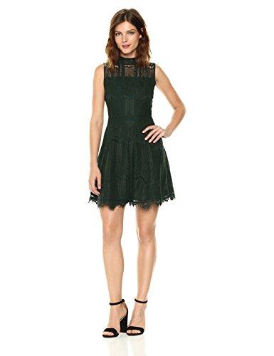 BB Dakota Women's Reese Lace Fit N Flare Dress, Forest Green, 4