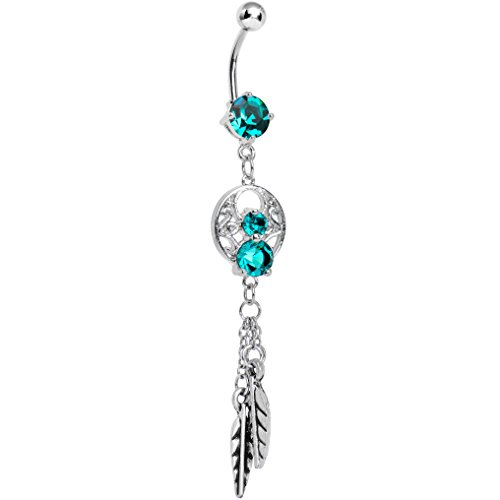 Belly Button Ring Body Candy (Body Candy Stainless Steel Enchanting Blue Green Dangle Dreamcatcher Belly)