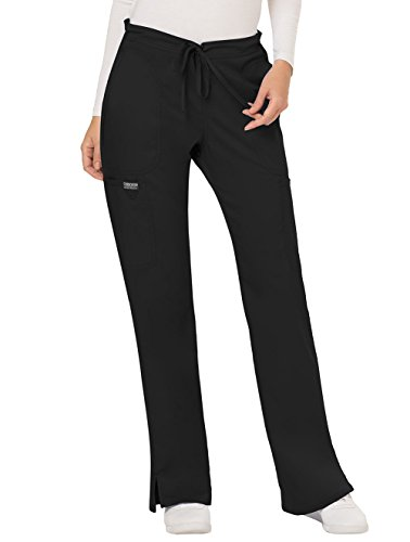 Cherokee Women's Mid Rise Moderate Flare Drawstring Pant, Black, Small from Cherokee