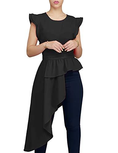 Lrady Women's Ruffle Cap Sleeves High Low Asymmetrical Dress Peplum Tunic Tops, Black, Large ()