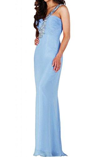 Toscana marrón adorable One-Shoulder por la noche vestidos de gasa vestido de fiesta largo vestidos de bola Azul