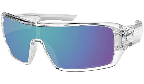 Bobster 4003384 Paragon Sunglasses-Crystal Clear/Blue Mirror Lenses