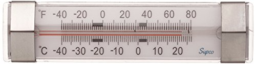 Supco ST06 Stainless Steel Horizontal Freezer Refrigerator Thermometer, -40 to 80 Degrees F by Supco