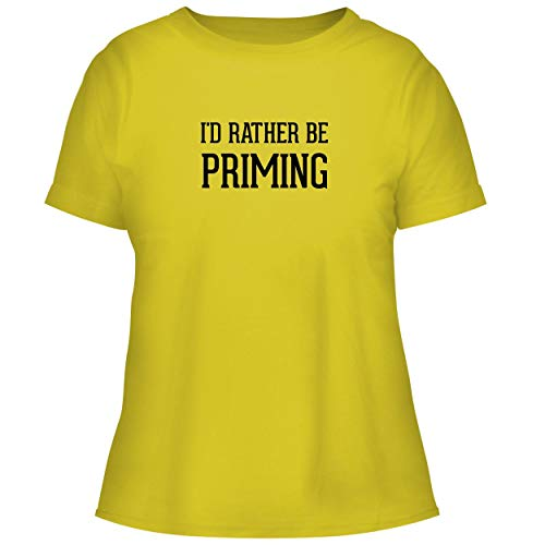 BH Cool Designs I'd Rather Be Priming - Cute Women's Graphic Tee, Yellow, - Cost Instant Prime Video