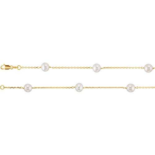 JewelryWeb 14k Yellow Gold 16 Inch White Pearl Station Necklace ()