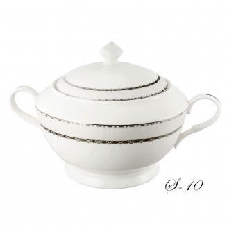 Lorenzo Import La Luna Collection Bone China Souptureen with Lid, Serafina Pattern by Lorren Home Trends, Silver