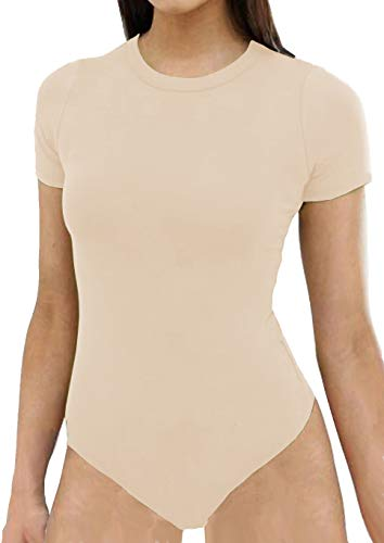 (TTWELL Women's Sexy Short Sleeve Crew Neck Bodysuit Jumpsuits (Nude, X-Large))