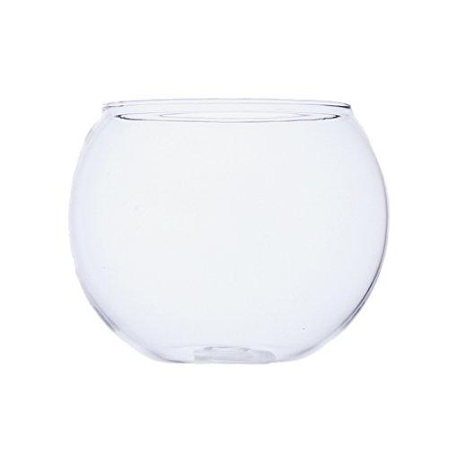 MagiDeal Vaso De Vidrio Transparente Ronda Tanque De Peces Bola Tazón Planta De Flores Terrario Decoración