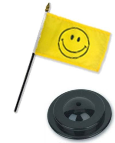 - Moon Yellow Smiley Smile Face Happy 4''x6'' Flag Desk Set Table Stick Staff Black Base - Vivid Color and UV Fade Resistant - Prime Outside Garden Home Decor