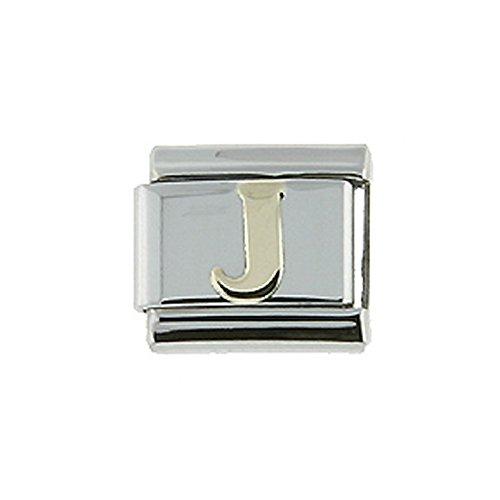 (Stainless Steel 18k Gold Italian Charm Initial Letter J for Italian Charm Bracelets)