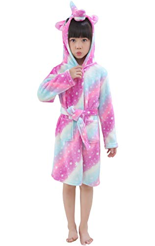 Girls Robe, Unicorn Bath Robe Fleece Plush Flannel Bathrobe Robes for Toddlers Little & Big Girls, Purple Galaxy, 6 Years = Tag 140