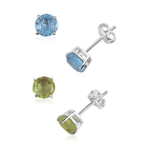 925 Sterling Silver Blue Quartz Green Quartz Fashion Solitaire Earrings for Women Cttw 2