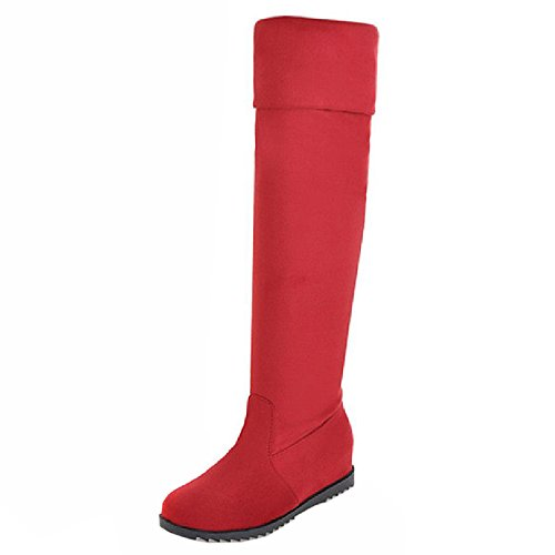 COOLCEPT Women Fashion Boots Pull On Red Loxlq