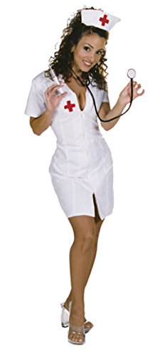 [Underwraps Womens Sexy Hot Flash Nurse Low Cut Neckline Medical Fancy Costume, M (10-12)] (Womens Nurse Halloween Costumes)