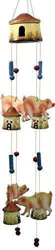 StealStreet 35005 32″ Pigs with House Theme Ceramic Figurine Wind Chime