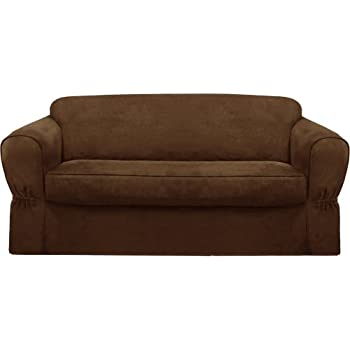 Maytex Piped Suede 2 Piece Sofa Slipcover Brown