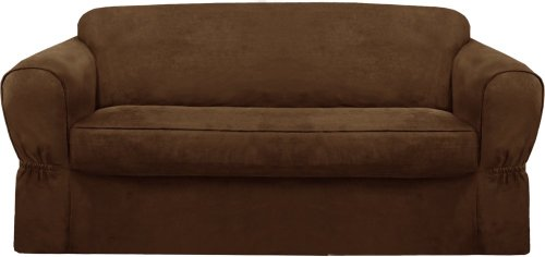 2 Pack Slipcover - MAYTEX Piped Suede 2-Piece Loveseat Furniture Cover/Slipcover, Brown