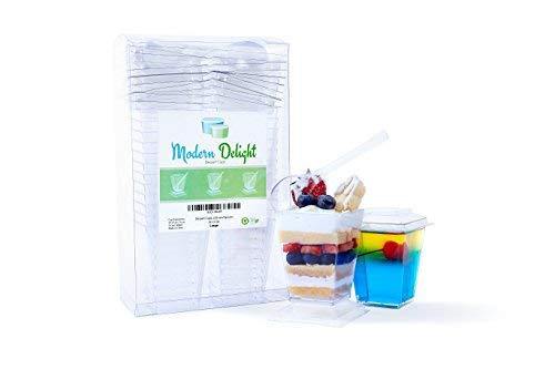 Plastic Dessert Cups With Lids - Pack of 24 Modern 5 oz Square Cups with 24 Snap-on Lids and Serving Spoons, Perfect for Appetizers, Tasting Parties, Parfaits, Trifles ()
