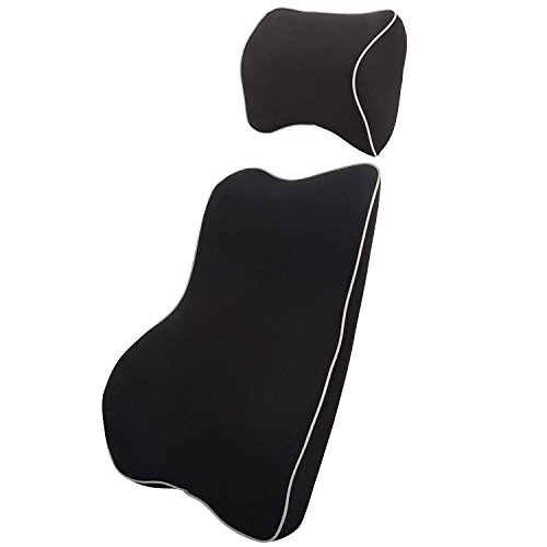 H&B Luxuries Memory Foam Lumbar Support Car Back Seat Cushion for Driving Car and Office ()