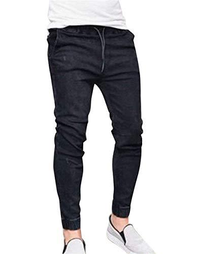 Vintage Ragazzo Nero Jeans Slim Denim Uomo Pantaloni Taglio Dritti Fashion Dritto Da In Fit UBxHxa