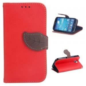 Litchi Pattern PU Leather Protective Case with Leaf-shaped Buckle for Samsung S4 i9500 Red