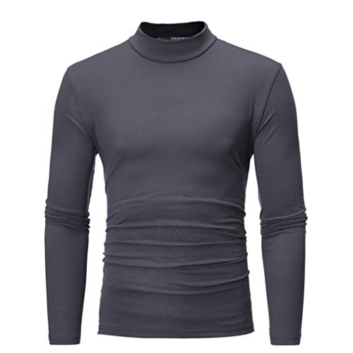 Abercrombie Clothing Store - Willsa Men's Shirts Autumn Winter Pure Color Turtleneck Long Sleeve T-Shirt Top Blouse