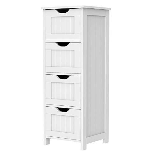 Yaheetech Bathroom Floor Cabinet, Wooden Side Storage Cabinet Free Standing Organizer Unit with 4 Drawer for Hallway, White