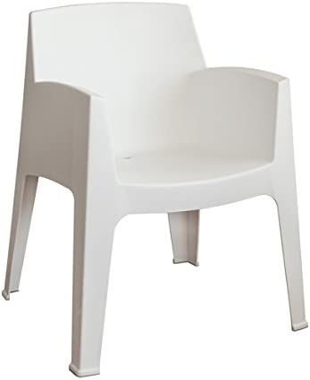 LEBER Sillón Soho de Resina Moderno Color Blanco. Apilable Ideal para Terraza y jardín: Amazon.es: Jardín