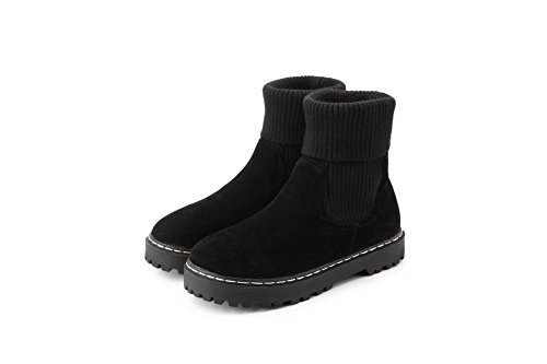 Allhqfashion Women's Low-Top Pull-On Frosted Low-Heels Round Closed Toe Boots Black LPzj57