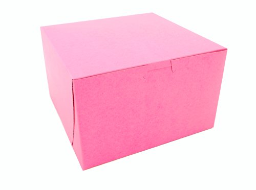 Non Lock Window Corner (Southern Champion Tray 0845 Pink Paperboard Non-Window Lock-Corner Bakery Box, 8
