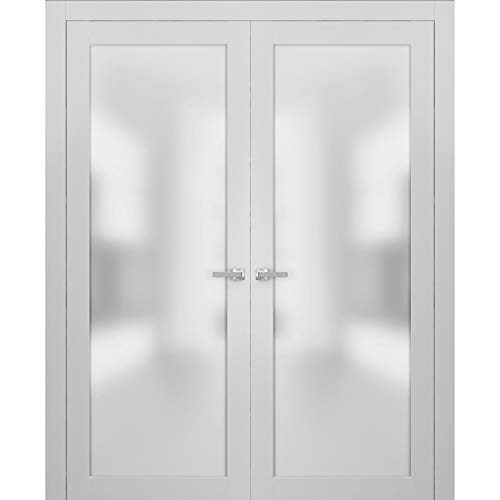 French Double Frosted Glass Doors 64 x 96 | Planum 2102 White Silk | Frames Trims Satin Nickel Hardware | Bedroom Bathroom Solid Core Wooded Panels with Opaque Inserts