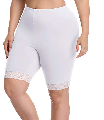 Women's Plus Size Modal Cotton Short Leggings Pants Lightweight Breathable Mid Thigh Stretchy Shorts (2X, Lace Edge White) ()