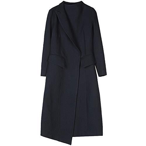 Hiver 2018 Clothes De Bleu En Sens Twill Femmes Asymétrique Du Revers Manteau Noir Laine Design Carbone PwpqxCBw
