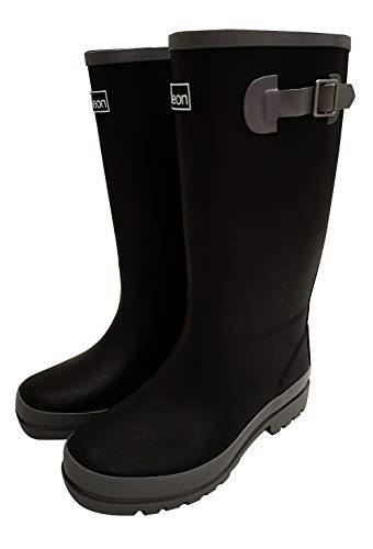 Jileon Wide Calf All Weather Durable Rubber Rain Boots for Women-Fits Calf Sizes Up to 18 Inches (6 W (Wide) US, Black with Grey Trim)