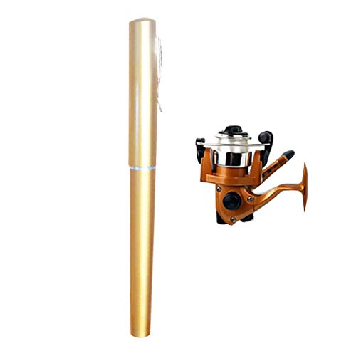 TYPEIN Mini Portable Pocket Fish Pen Shape Aluminum Alloy Fishing Rod Saltwater Freshwater, Gift for Festivals (Best Freshwater Fishing Rods 2019)