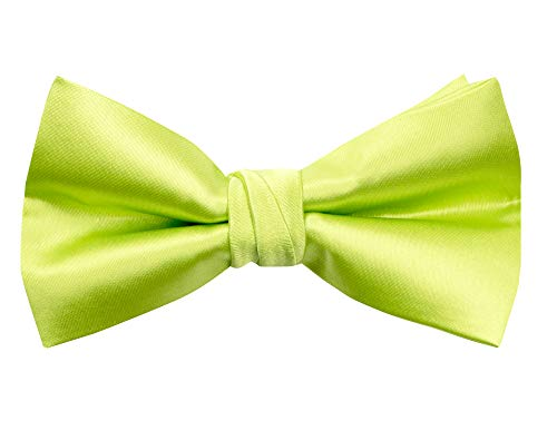 Spring Notion Men's Solid Color Satin Microfiber Bow Tie Lime