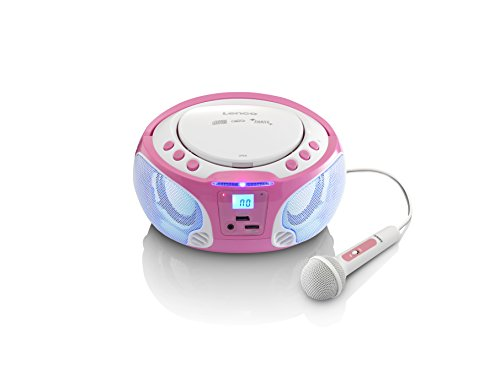 Lenco SCD-650 Kinder CD-Player mit Mikrofon, Karaoke-Funktion und Licht-Effekten (CD / MP3, USB, AUX, LCD-Display, UKW Radio), rosa / weiß