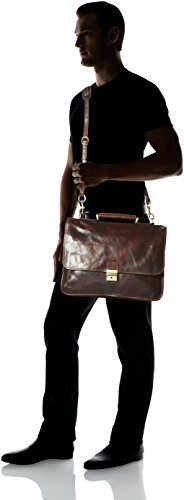 Luggage Depot USA, LLC Men's Alberto Bellucci Italian Leather Double Gusset D. Brn Laptop Messenger Bag, Dark Brown, One Size by Luggage Depot USA, LLC (Image #4)
