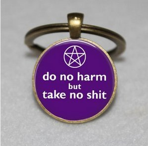 Wiccan Key Chain - Silver Pentacle Key Chain - Do No Harm Jewelry Key Chain - Purple Key Chain