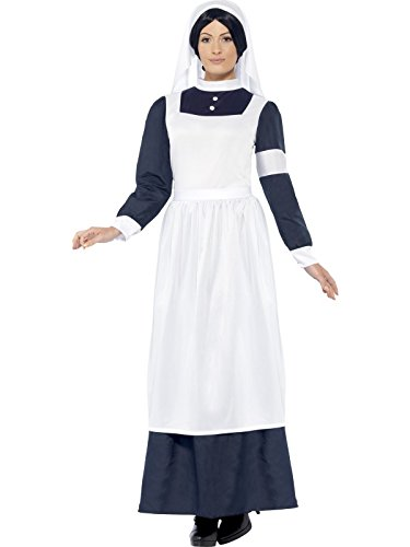 (Smiffys Women's Great War Nurse Costume, Dress and Headpiece, Tales of Old England, Serious Fun, Size 10-12,)