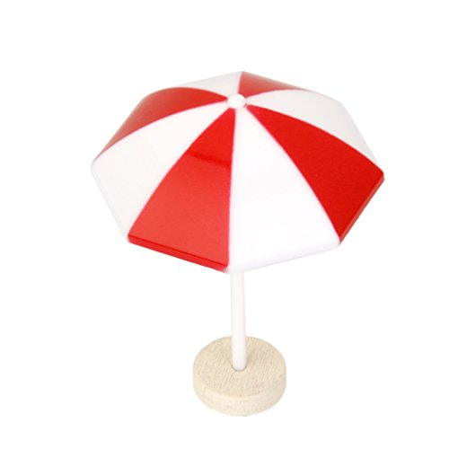1x Red Beach Sun Umbrella Miniature PVC Landscape Bonsai Dollhouse Decor
